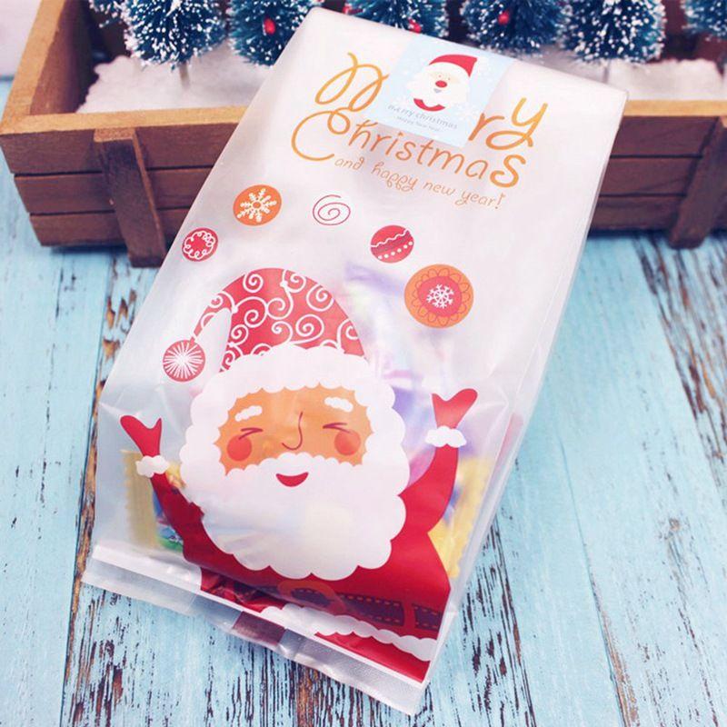 50PCS / 설정 쿠키 사탕 빵 플라스틱 포장 가방 박스 산타 Claust 클리어 파티 선물 초콜릿 크리스마스 파티 가방