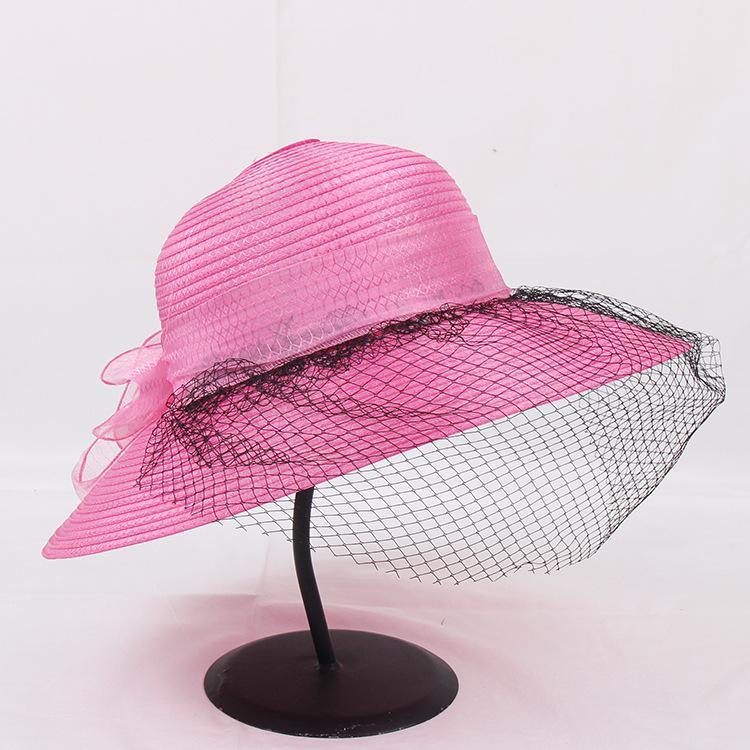 Fashion-дизайнер новой большое соломенной шляпе дама органзы цветок марля тень праздник пляж шляпа