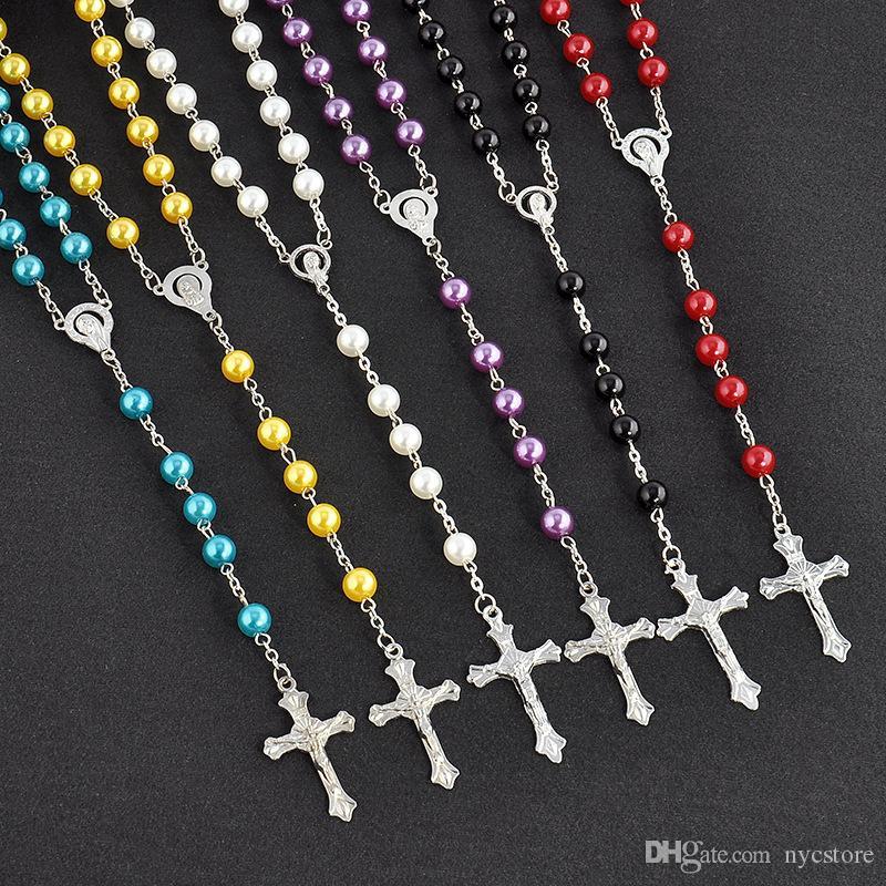 Uzun Tesbih Çapraz kolye Kolye İmitasyon İnci Zinciri Paslanmaz Çelik Püskül Uzun Christian İçin Kadınlar Moda Takı