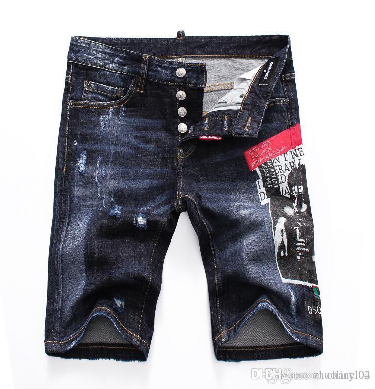2019 European standing men's jeans, men's jeans, a pair of skinny jeans and black embroidered skulls V987