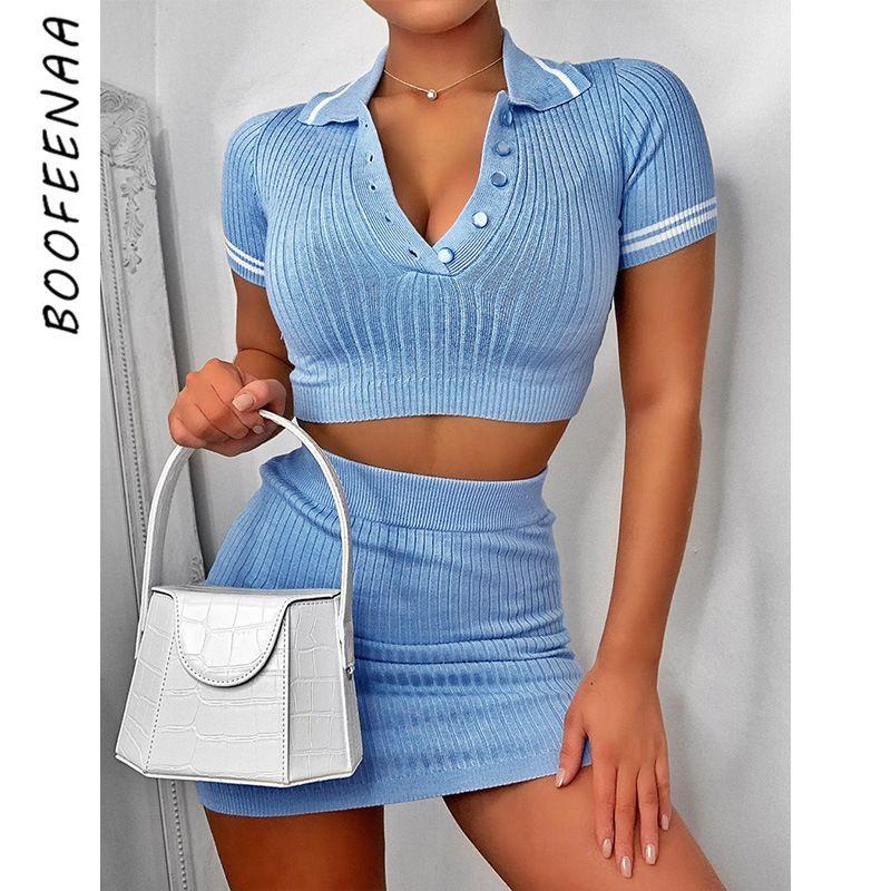 BOOFEENAA 섹시 베이비 블루 니트 스웨터 두 조각 세트 여성 가와이이 패션 여름 옷 자르기 탑 스커트 매칭은 C76-AE86 T200622을 설정합니다