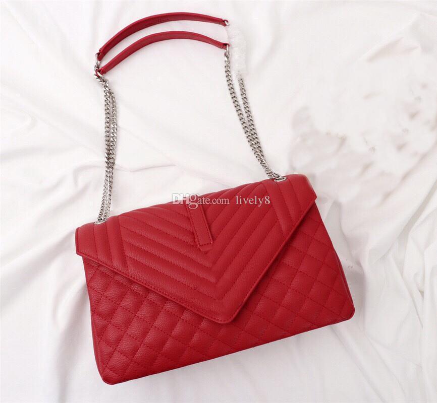 Sıcak satış Yeni Style V tipi Kafes Desen Yüksek kaliteli deri 31cm marka Zarf Askılı çanta Moda rahat lüks çanta womens