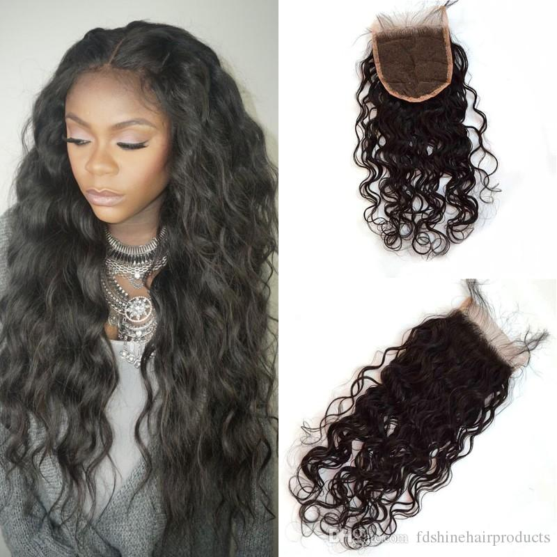 Russian Hair 4x4 Lace Closure Water Wave Free Part 8-24inch Natural Color Can Be Dyed Best Selling Products No Shedding G-EASY