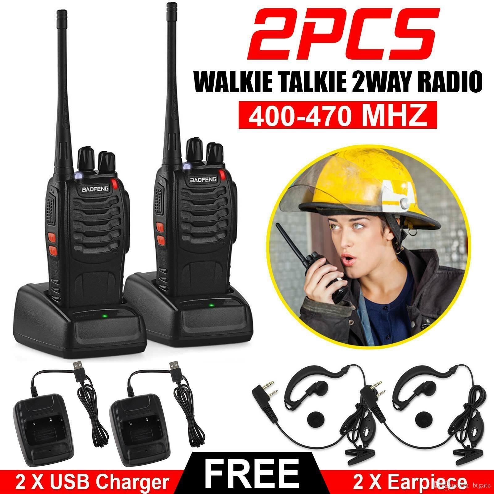 2 шт. Baofeng BF-888S Walkie Talkie Двухстороннее радио 16ч 5 Вт 400-470 МГц Портативный портативный радио набор 1500 мАч для охотничьего радио