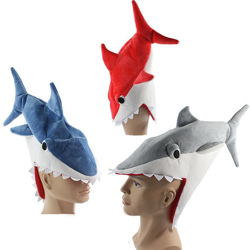 Halloween lustig Originalität Aquarium Hai Piranhas Hut Plüschspielzeug füllte Plüsch-Cap Cosplay Hut für Kinder Erwachsene Geschenk T200620