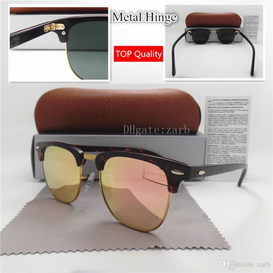 Top 51MM Glass Lens Circle Men Women Shade Sunglasses UV400 Plank Eyewear Metal Frame Hinge Flat Round Trend Vintage Eyeglass With Box Case