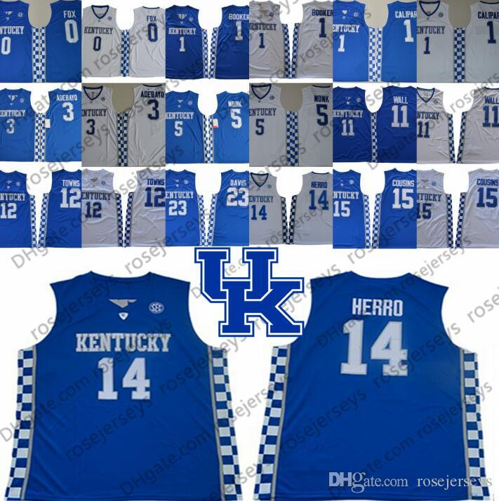 Kentucky Wildcats Tyler Herro Blue Jersey # 14 Booker Wall Towns Cousies Devis Devin John Karl-Anthony Demarcus Anthony Fox Monk Баскетбол