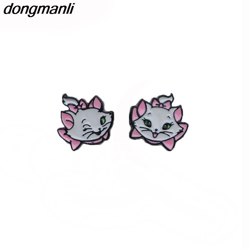WS1172 Dongamnli New Marie Aristocats Kinder Ohrringe Maria Katze Emaille-Bolzen-Ohrringe für Frauen Mädchen Schmuck Accessoires