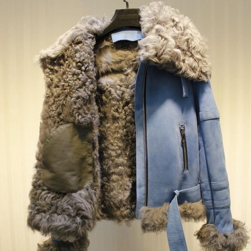 Üst Kalite Çift Yüzlü Kürk Biker ceketler Kadınlar Lüks Gerçek Koyun Kürk Kadın Kış Sıcak Moda Vintage Fermuar Ceket