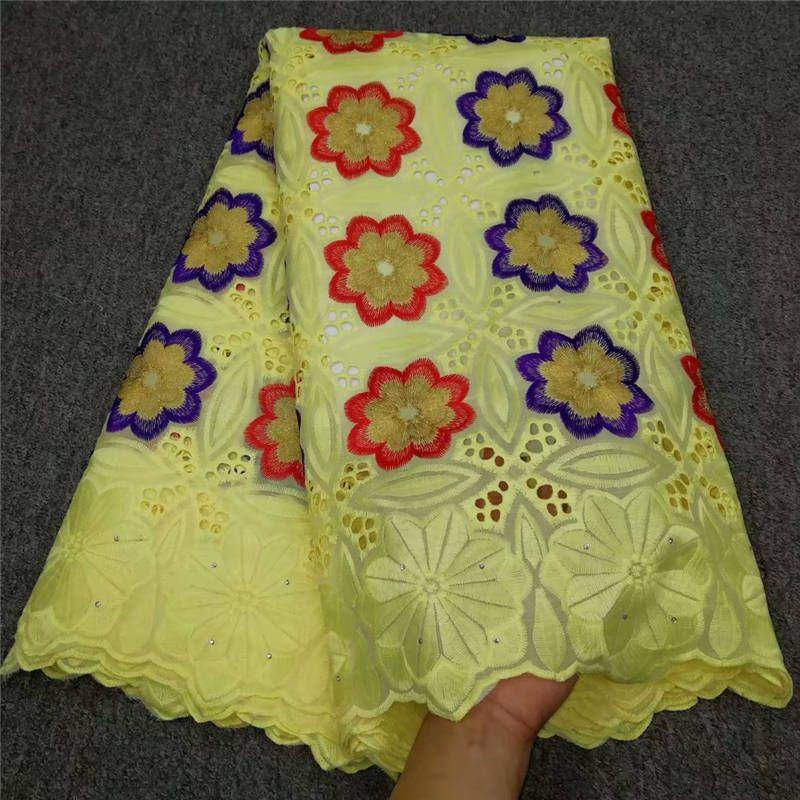 Последние Новый дизайн африканского хлопка швейцарский Voile кружева ткани высокого качества Африканский швейцарский Voile кружева с Стразы 699935059711