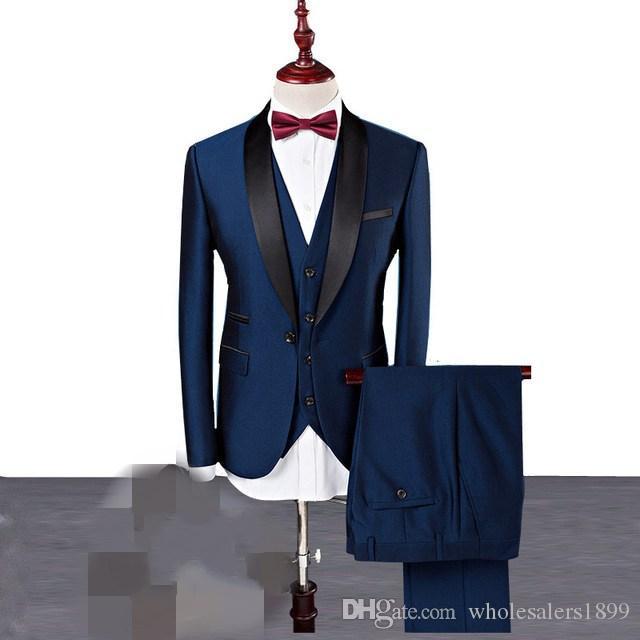Neue Ankunft Groomsmen One Button Blau Bräutigam Smoking Schal Revers Männer Anzüge Hochzeit Bräutigam (Jacke + Pants + Weste + Tie) NO: 1