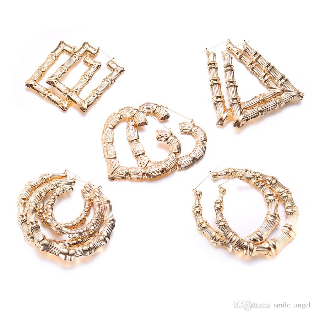 2020 Luxury Jewelry Multiple Shapes Ethnic Large Vintage Gold Plated Bamboo Hoop Earrings For Women 5 Modes Free Choice Wedding Hot Selling