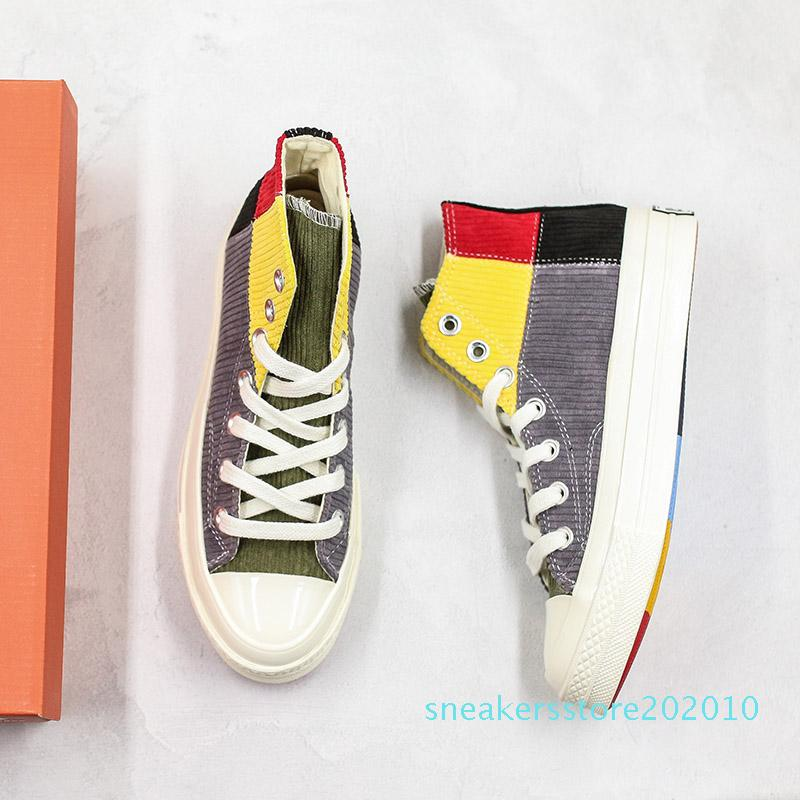 2020 Весна шить цвета Повседневная обувь Высокая мода платформа холст спортивная обувь дизайнерская обувь мужчины женщины досуг кроссовки с коробкой s10