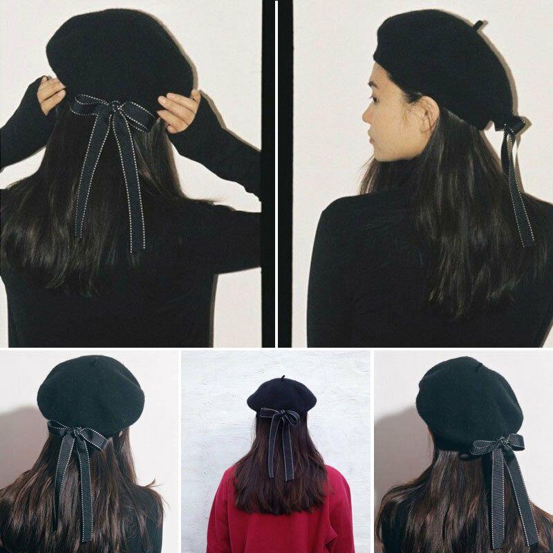 Women Knit Bownot Beret Winter Warm Female British Style Lady Painter Bonnet Hats Solid Color Hot