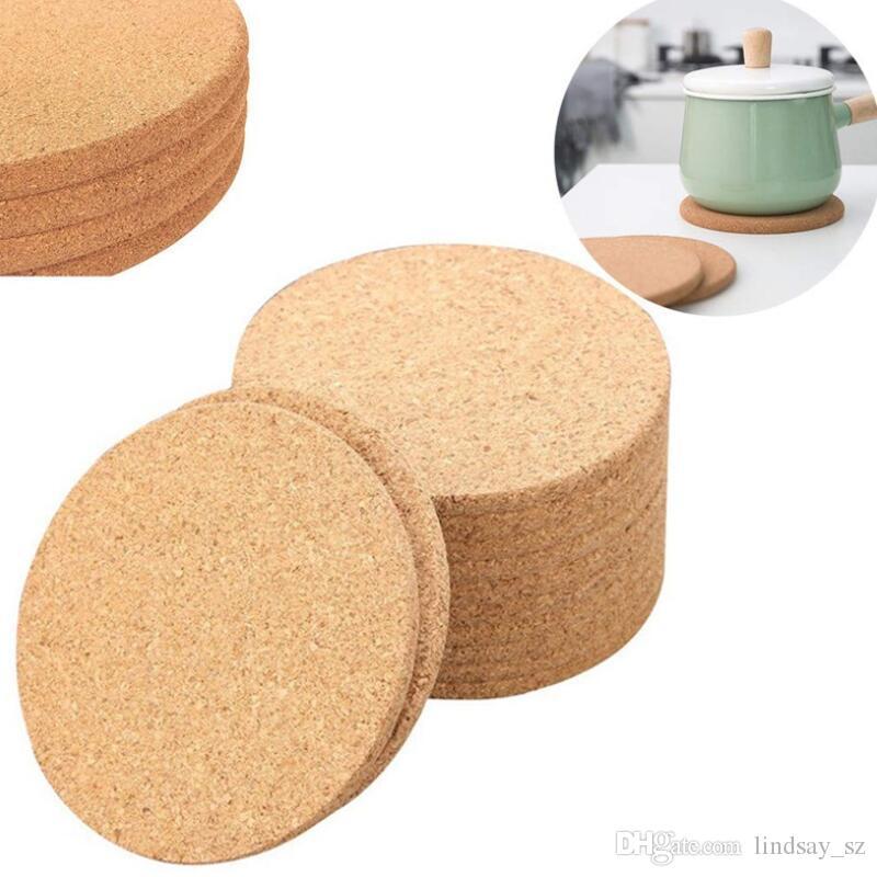 100 قطعة / الوحدة فنجان القهوة الطبيعية حصيرة جولة الخشب مقاومة للحرارة كورك كوستر حصيرة الشاي مشروب وسادة الجدول ديكور بالجملة LX8821