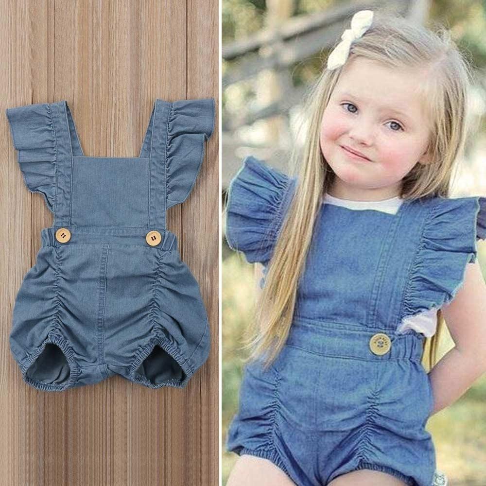 Jeans bébé fille bébé barboteuse sans manches à volants vêtements de nouveau-né été dos nu Toddler Jumpsuit fille de vêtements pour bébés J190525