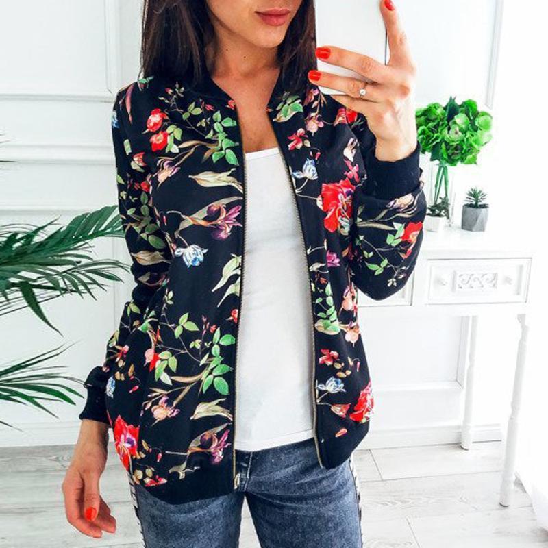 JAYCOSIN Retro Blumendruck-Frauen Mantel-beiläufige Reißverschluss bis Bomberjacke Damen Freizeit Herbst Outwear Coats Frauen Kleidung 1030