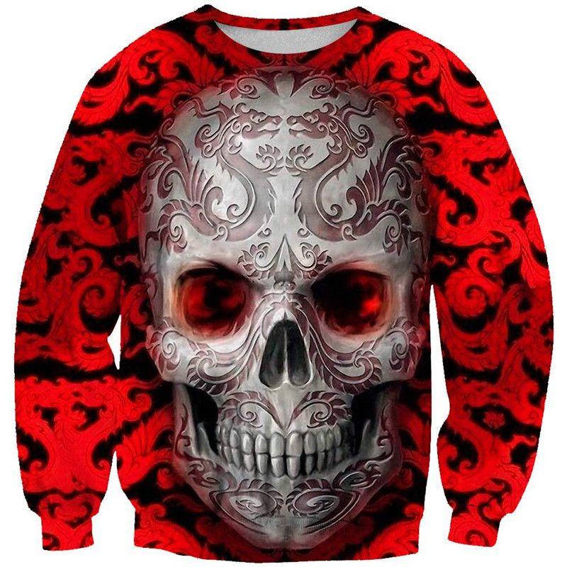 Mens Designer Crew Neck Sweatshirts Casual Street Style Digital Three Dimensional Skulls Printing Sweatshirts Mens Fashion Clothing