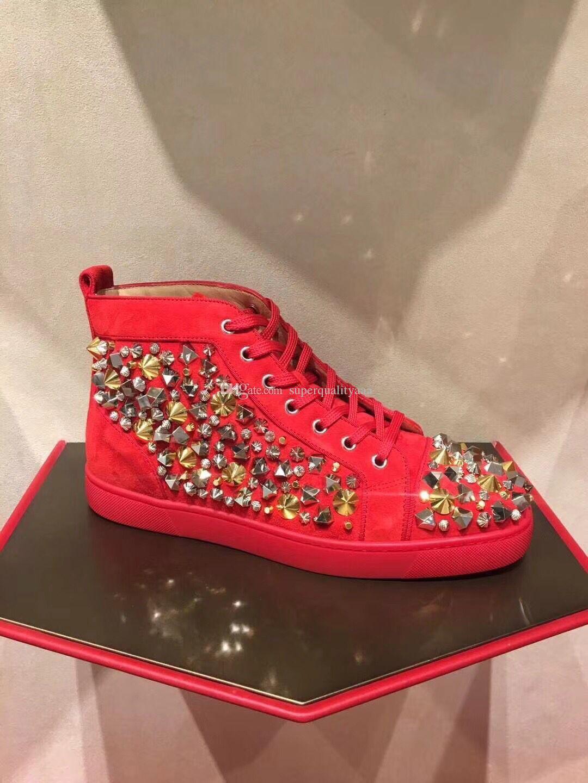 Kırmızı Süet + Studs Günlük Yüksek En Popüler Basit Yürüyüş Şık Tasarımcı Kırmızı Alt Sneakers Ayakkabı Erkekler, Kadınlar Açık Trainer Parti Gelinlik