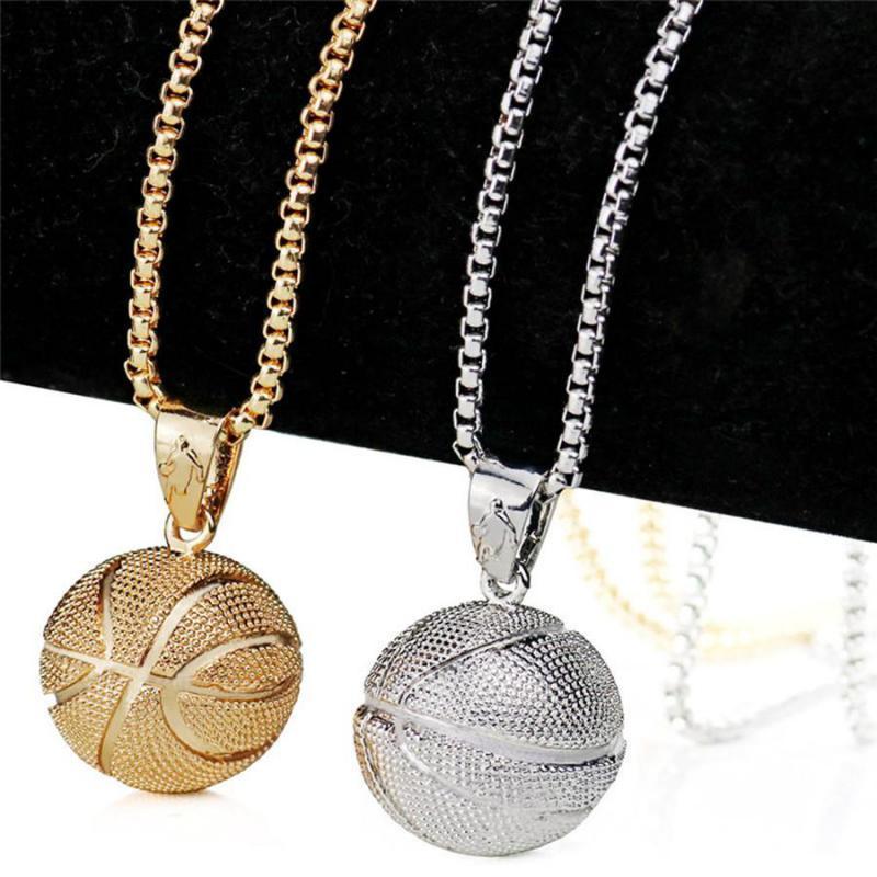 3D-Basketball-Halsketten-Anhänger Sport Silber Gold Farbe Edelstahl Hip Hop Schmuck Edelstahl-Kette für Männer Geschenke
