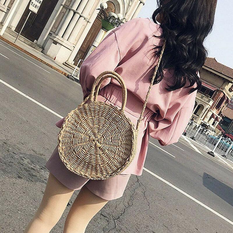Vintage handgemachte Mode Frauen-Sommer-Stroh-Rund Purse Geschenke Shopping Umhängetasche Große Einkaufstasche Strand-Umhängetasche