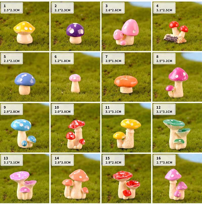 2020 Mushroom Flower Pot Decor Zakka Resin Crafts Terrarium