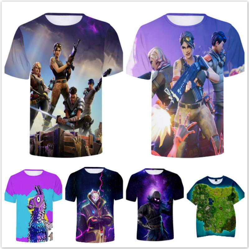 2019 Fashion Summer Children Cool Teenager Fortnight 3D T-Shirt Baby Boys Girl Game Cartoon Design T Shirts Kids Royale Tops 2-12 Years Old