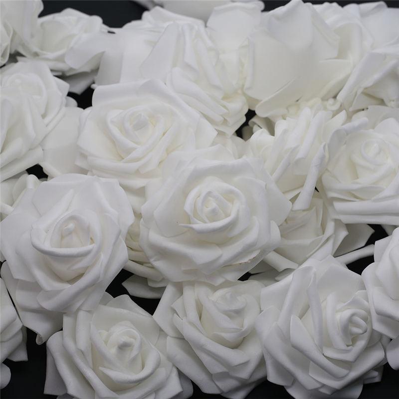 10pcs-100pcs partido da flor Rose Cabeça de Flor Artificial Rose para casa decorativa Coroas casamento Branco PE Foam DIY Decoração