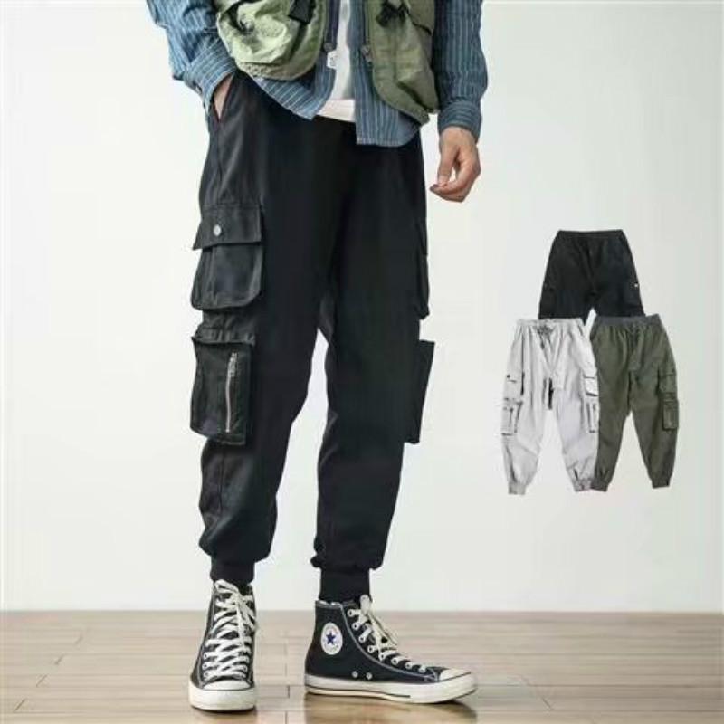 ZK Harajuku Uomini Fuori Zipper Bianco Cargo Pants 2019 Hip Hop multi tasche rigonfio Harem Jogger pantaloni maschio casuale Streetwear Pantaloni