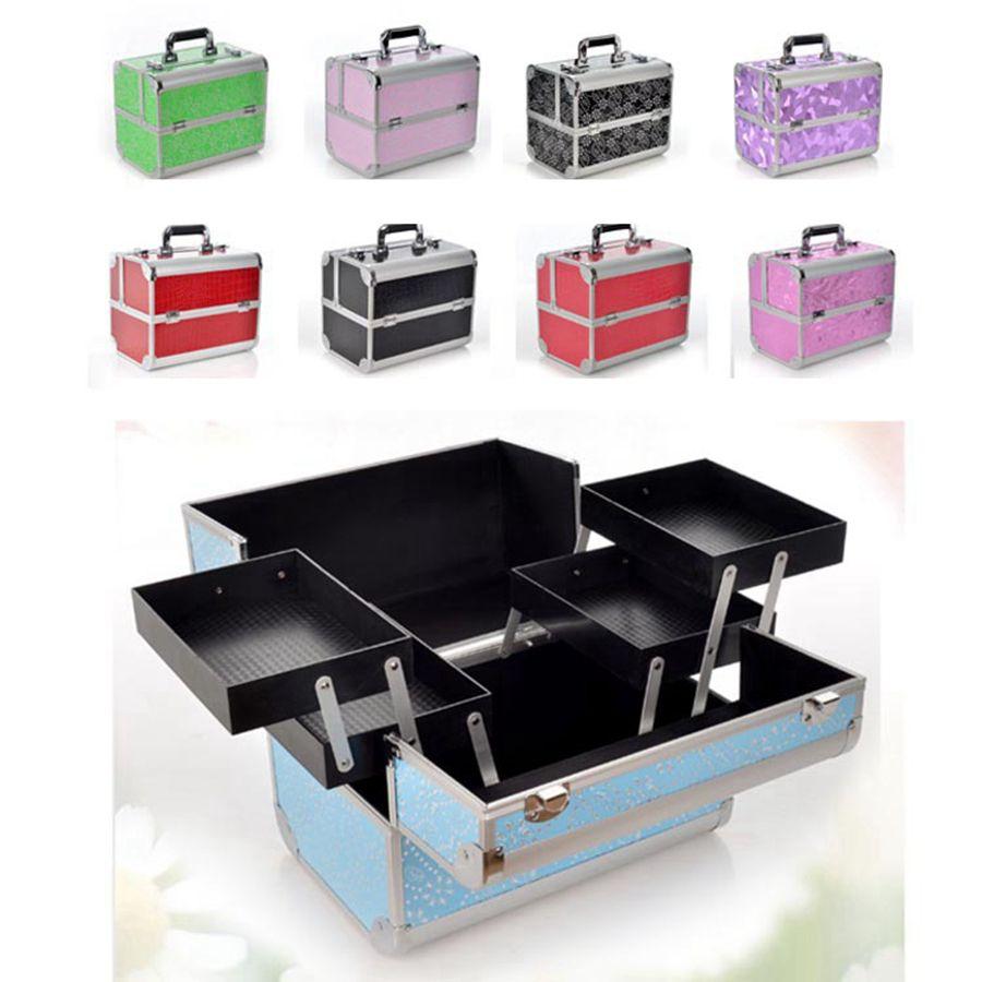 알루미늄 합금 메이크업 박스 전문 메이크업 뷰티 화장품 가방 멀티 계층 잠글 수있는 보석 상자 메이크업 도구 LJJR932