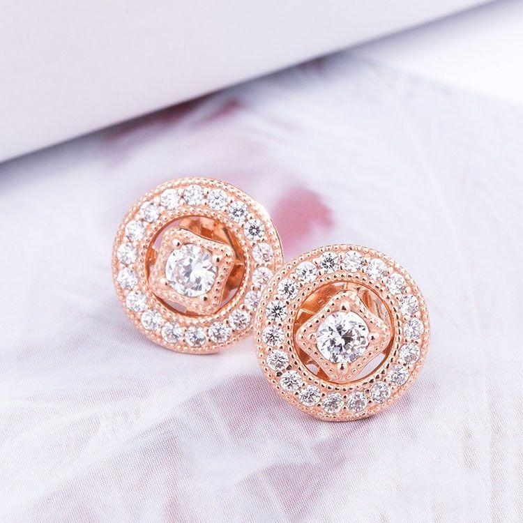 Al por mayor-vendimia CZ aretes de diamantes encanto de la joyería de lujo del diseñador para Pandora plata de ley 925 con la caja Pendientes Señora