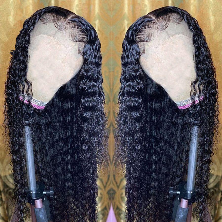 13x6 partie profonde transparente invisible vague d'eau de dentelle avant cheveux humains perruques 150% platefucked hd dentelle perruque remy femmes de fermeture frontale perruque