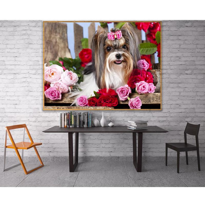 diamante no atacado pintar rosas e cães mosaico pintura transversal do ponto de cristal de diamante rodada Filhote de cachorro bonito define plástico Crafts