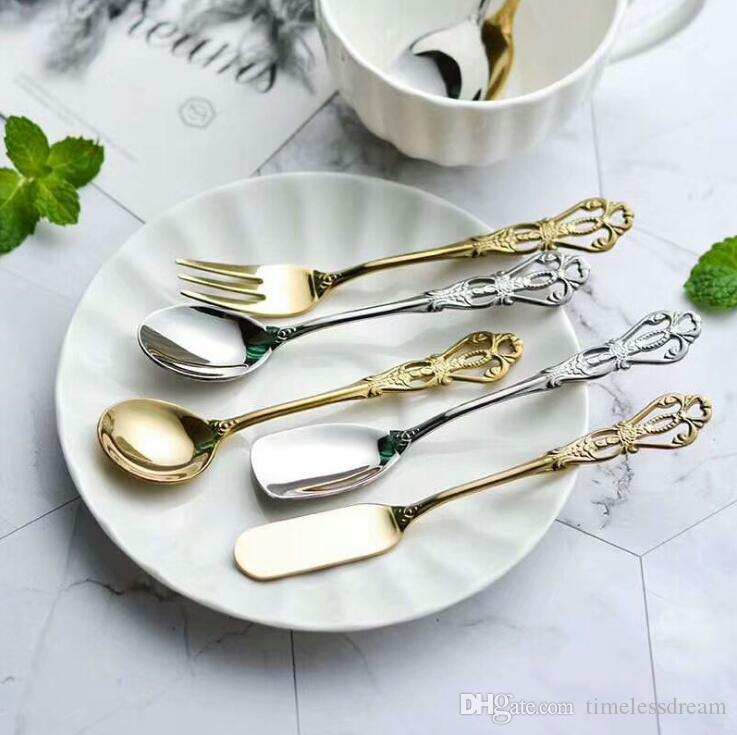 304 Stainless steel retro flatware hollowed-out handle coffee spoon fruit fork butter knife dessert scoops ice cream scoops dinnerware