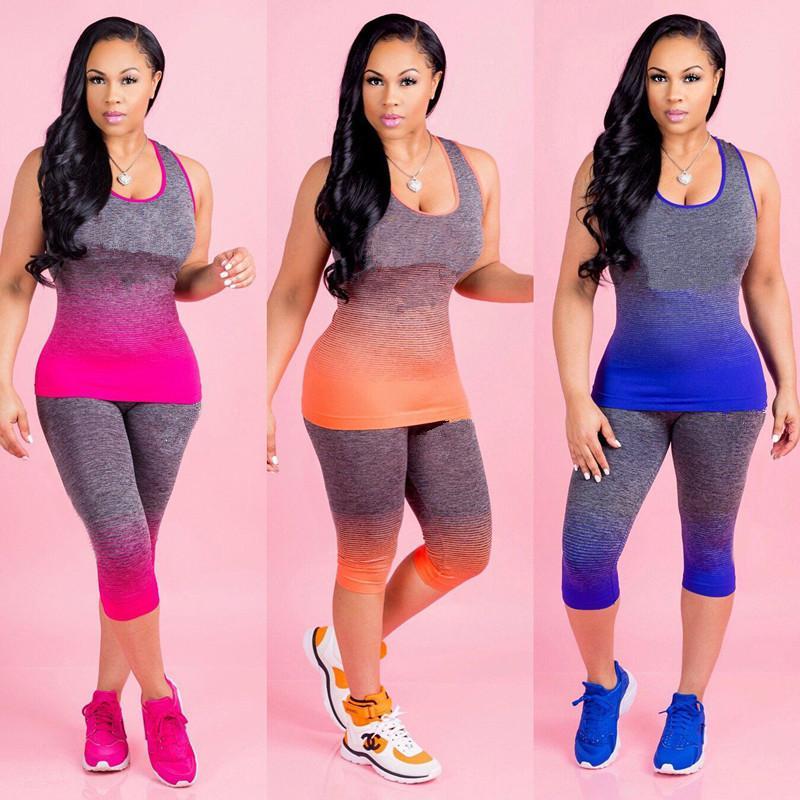 Serbatoi Gradient progettista di marca Tuta senza maniche Vest + Leggings Tights 2 pezzo Letter Set donne della stampa maglietta Outfits che coprono il vestito S-3XL