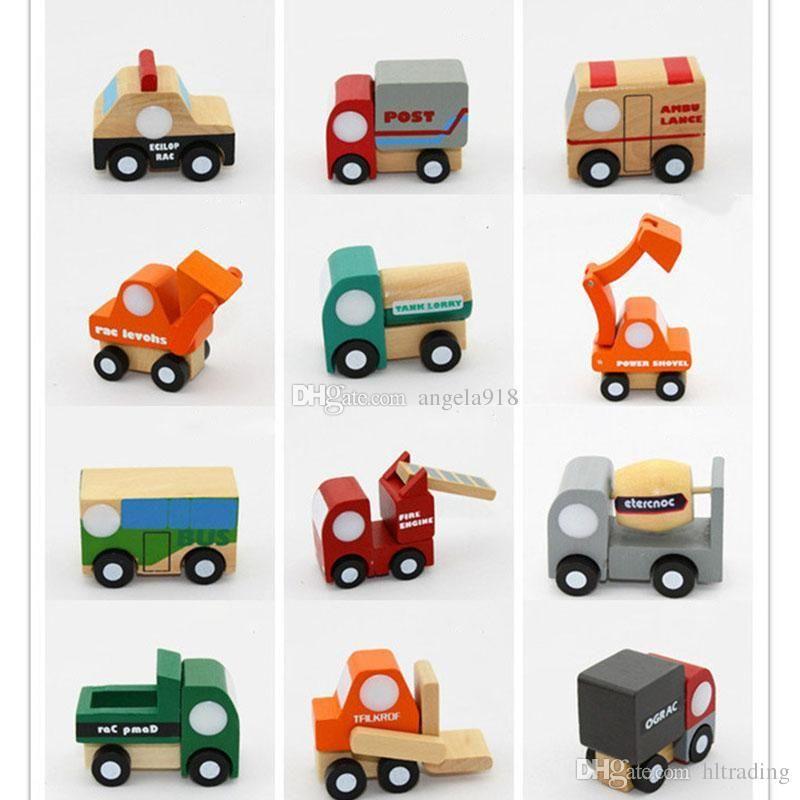 12pcs / set voiture figurines mini voiture en bois jouets éducatifs pour les garçons garçons anniversaire de noël cadeau miniature de modèle voitures bébé jouet C5092