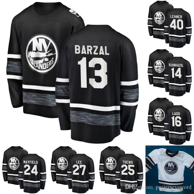 Maillot All-Star Game 2019 des Islanders de New York Hommes 12 Josh Bailey 13 Mathew Barzal 27 Anders Lee 15 Chandails de hockey Cal Clutterbuck