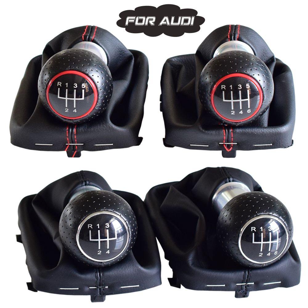 Ручка переключения передач Ручка рычага для A3 S3 2001 2002 2003 Black / Red Leather Gaiter загрузки Обложка для 5/6 скорости Руководство автомобиля Stying