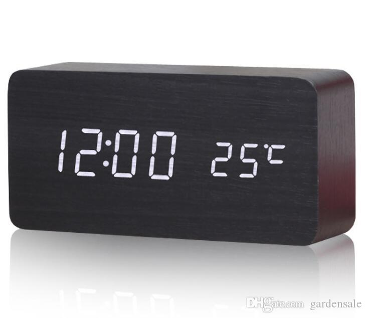 Alarm Clocks with Thermometer ,Wood Wooden Led clocks, Digital Table Clock,Electronic Clocks With Cost Free Shipping
