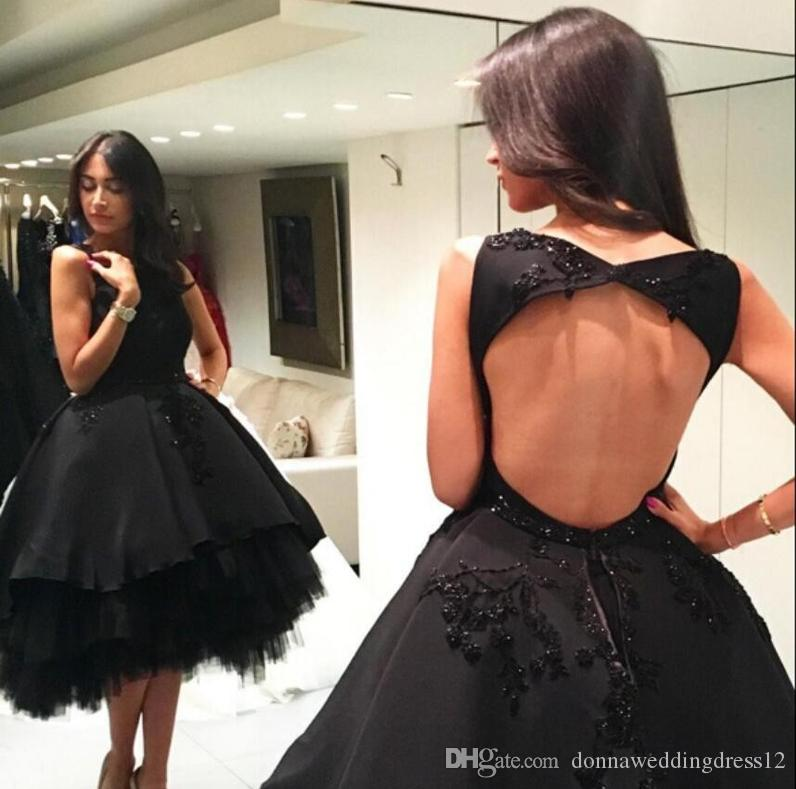 Sexy Backless Black Short Prom Dresses 2020 Elegant Sleeveless Knee Length Cocktail Dress Ball Gown Prom Party Gowns