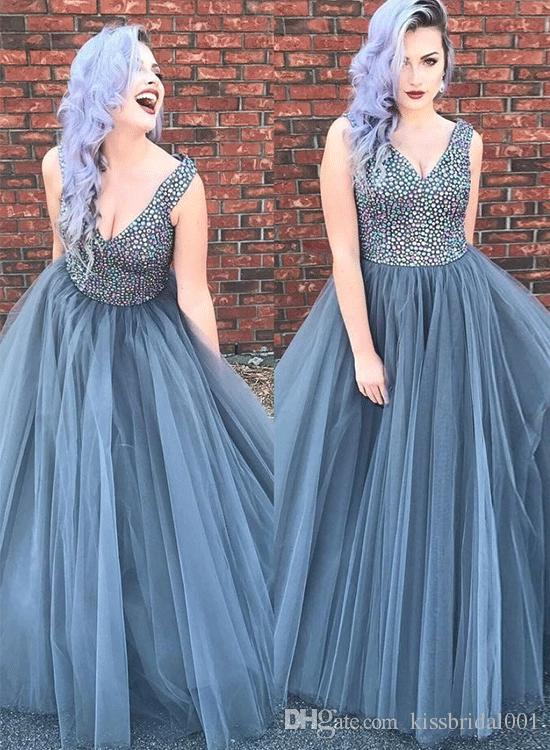 Beaded Tulle Prom Dresses Long 2019 Crystal Rhinestone Corset Bodice Formal Evening Gowns V Neck Cocktail Party Ball Dress