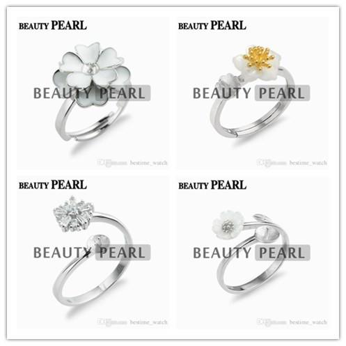 HOPEARL Jewelry Ring Flower Design 925 Sterling Silver Gift Pearl Semi Mount Ring Settings for DIY