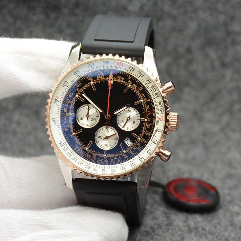 44 MM Kuvars Kronometre Erkek Saatler Altın Vaka Erkekler İzle Tarihi Saatı Paslanmaz Çelik Çerçeve Siyah Kadran Lastik Bant