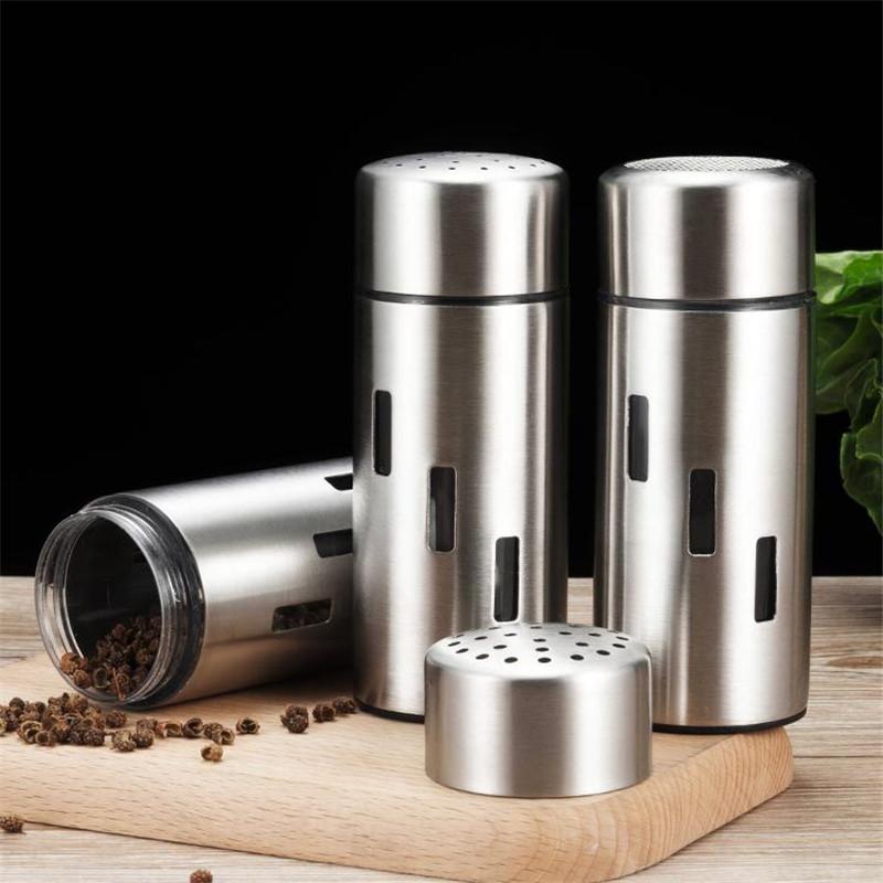 Stainless Steel Spice Jar kitchen Accessories Seasoning Sprays Jar Pepper Salt Shaker Cruet Condiment Cooking Tools