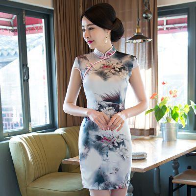 الأزياء الحرير شيونغسام التقليدية مثير قصيرة ضئيلة نمط 1920 ثانية الفن الرجعية مشبك تانغ دعوى شيك باو جديد أنيق المساء حزب اللباس الرسمي