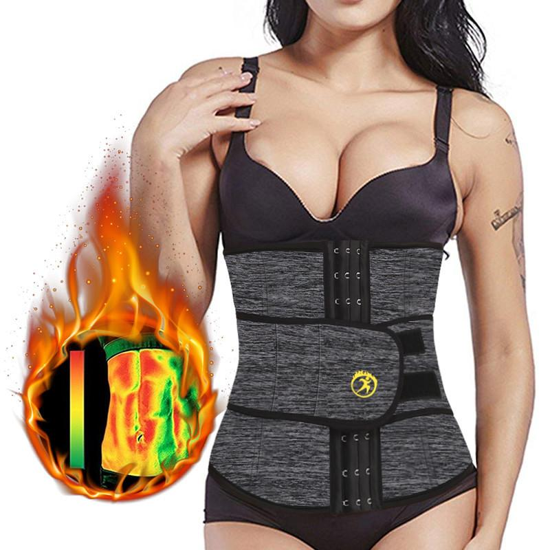 NINGMI Slimming Waist Trainer for Women Neoprene Sauna Suit Sport Shirt Weight Loss Modeling Belt Strap with Pocket Body Shapers Y200706