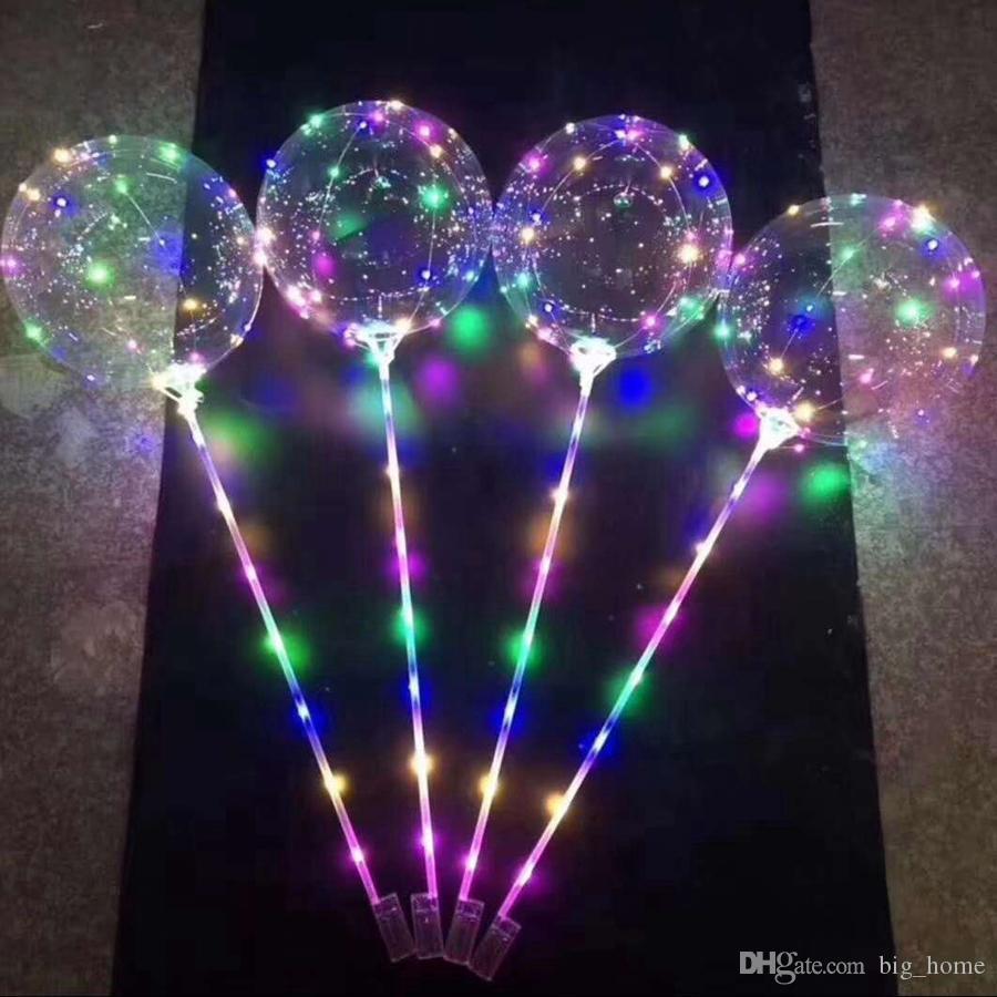 Светодиодный мигающий воздушный шар с прозрачным светящимся освещением Воздушные шары BOBO с 70-сантиметровым шестом 3M String Balloon Свадебные украшения для вечеринок LJJ_TA1407