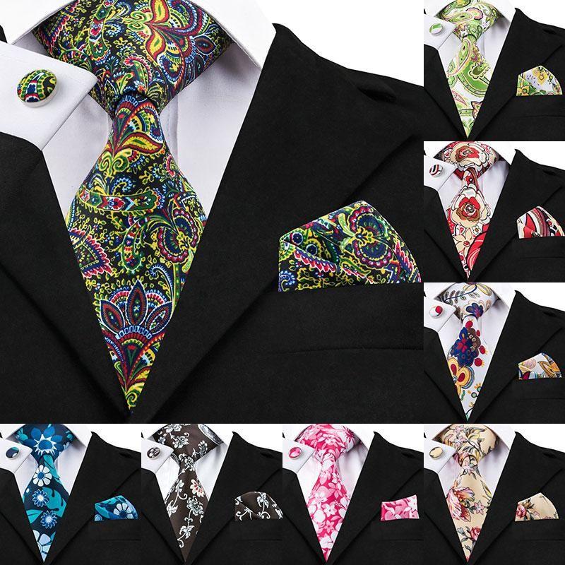 브랜드 빈티지 꽃 실크 넥타이는 남성 셔츠 남성 넥타이 디자이너 패션 목 넥타이 손수건 커프스 Gravata 인쇄 넥타이를 설정합니다