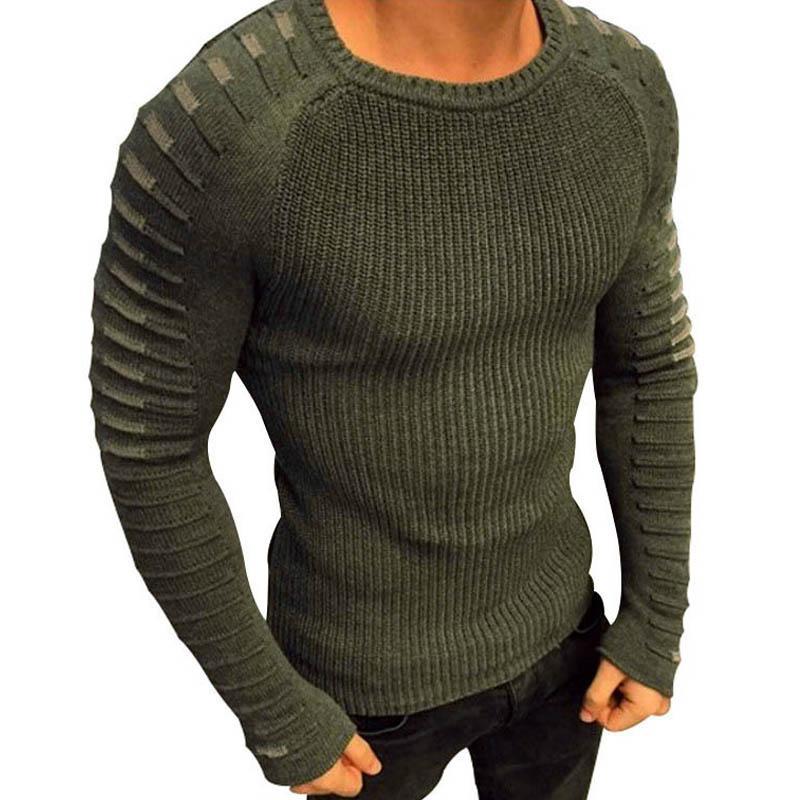 HTOOHTOOH Men Crew Neck Raglan Long Sleeves Pullover Knitted Sweater