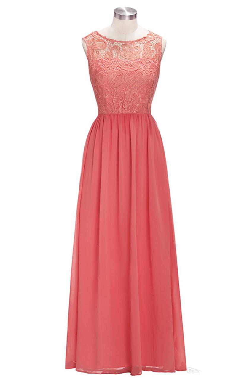 2020Neue lange billige koralle lila brautjungfer kleider ärmellos chiffon spitze a-line vestido de madrinha de casamento longo